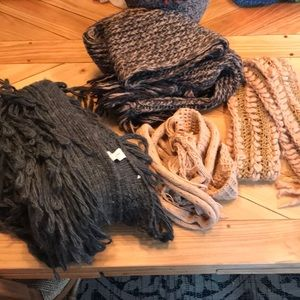 Four Oversized Abercrombie and Lucky Brand Scarves